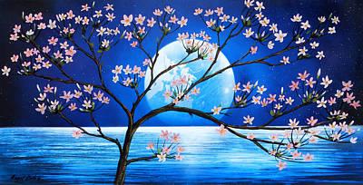 Sakura Painting - Cerezo At Moon by Angel Ortiz
