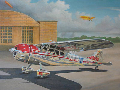Airfield Painting - Cessna 195 by Stuart Swartz