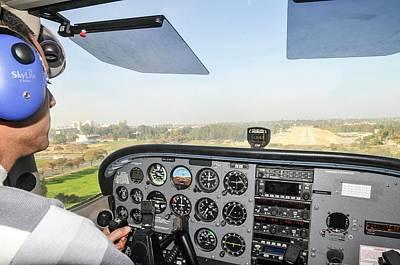Cessna Skyhawk At Takeoff Print by Photostock-israel