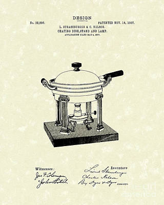 1907 Drawing - Chafing Dish 1907 Patent Art by Prior Art Design