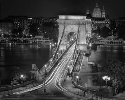 Budapest Attractions Photograph - Chain Bridge Night Traffic Bw by Joan Carroll
