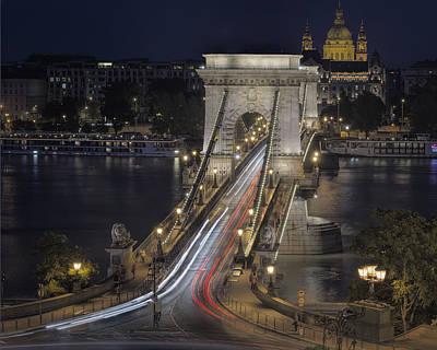 Budapest Attractions Photograph - Chain Bridge Night Traffic by Joan Carroll