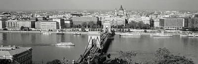 White River Scene Photograph - Chain Bridge Over The Danube River by Panoramic Images