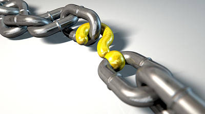 Studio Shot Digital Art - Chain Missing Link Question by Allan Swart