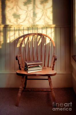 Chairs Photograph - Chair And Lace Shadows by Jill Battaglia