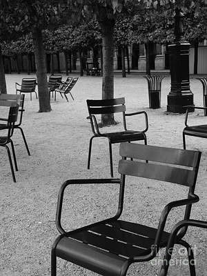 Chairs In Palais Royal Garden In Paris Print by Design Remix