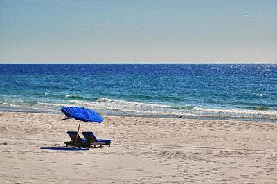Sand Fences Digital Art - Chairs On The Beach With Umbrella by Michael Thomas