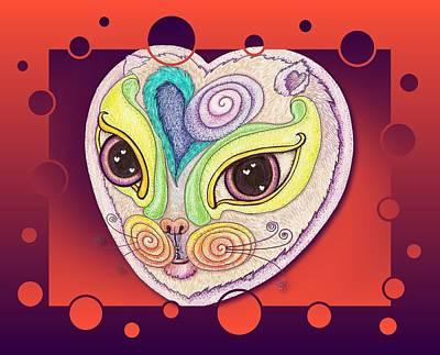 Chakra Cat Print by Melinda DeMent