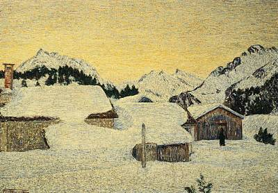 Chalets In Snow Print by Giovanni Segantini