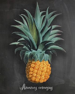Ananas Digital Art - Chalkboard Pineapple Print by Natalie Skywalker