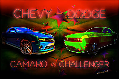 Camaro Photograph - Challenger Vs Camaro Under The Big Tent by Chas Sinklier
