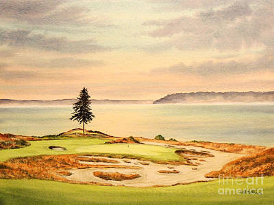 Amateur Painting - Chambers Bay Golf Course Hole 15 by Bill Holkham