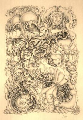 Abstract Shapes Drawing - Chameleon by Mikhail  Riabtsovski