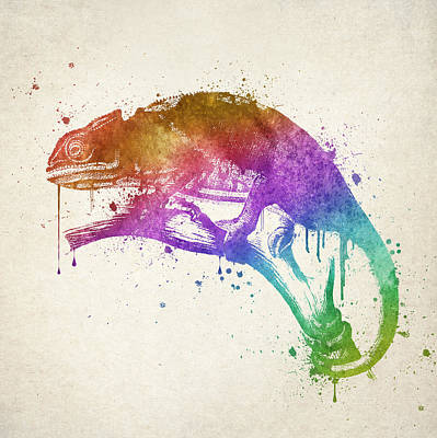 Chameleon Drawing - Chameleon Splash by Aged Pixel