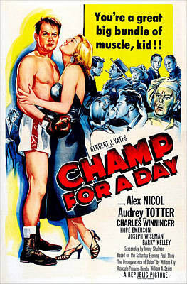 1950s Movies Photograph - Champ For A Day, Us Poster, From Left by Everett