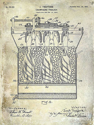 Champagne Bottle Freezer Patent 1902 Blue Print by Jon Neidert