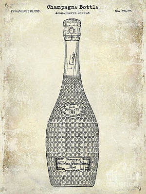 Wine Vineyard Photograph - Champagne Bottle Patent Drawing by Jon Neidert