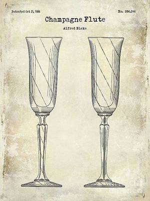 Wine Vineyard Photograph - Champagne Flute Patent Drawing  by Jon Neidert