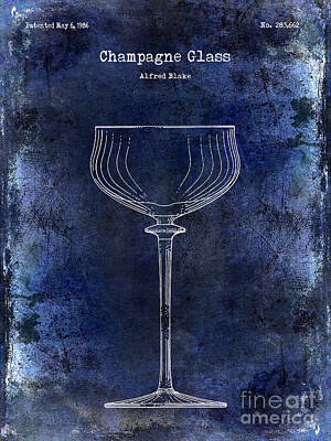 Wine Vineyard Photograph - Champagne Glass Patent Drawing Blue 2 by Jon Neidert