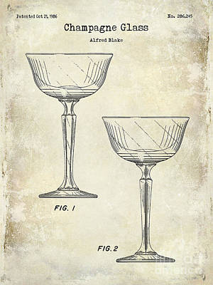 Wine Art Photograph - Champagne Glass Patent Drawing by Jon Neidert