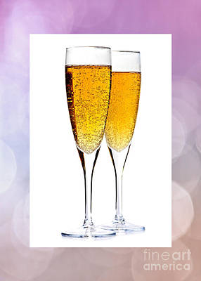 Crystal Photograph - Champagne In Glasses by Elena Elisseeva