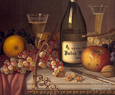 Champagne Photograph - Champagne Still Life 1875 by Padre Art