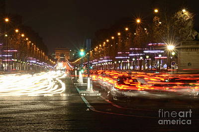 Champs-elysees And Arc De Triomphe Print by Sami Sarkis