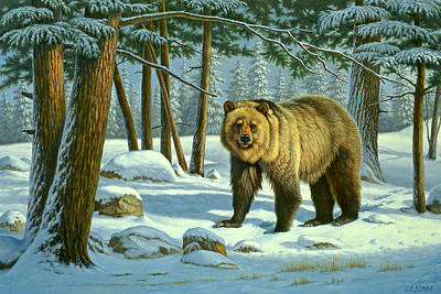 Yellowstone Painting - Chance Encounter - Grizzly by Paul Krapf