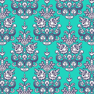 Turquoise Drawing - Chandraki Damask Ikat by Sharon Turner