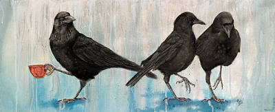 Crow Takes Tea Original by Marie Stone Van Vuuren