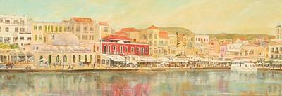 Chania Harbour With The Mosque Original by David Capon