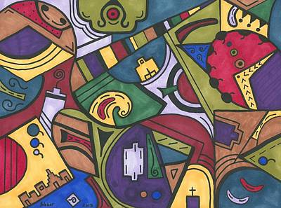 Chaos In The Hood Print by Susie WEBER