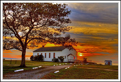 Base Path Photograph - Chapel At Fort Hancock Sandy Hook Nj In Sunset by Geraldine Scull