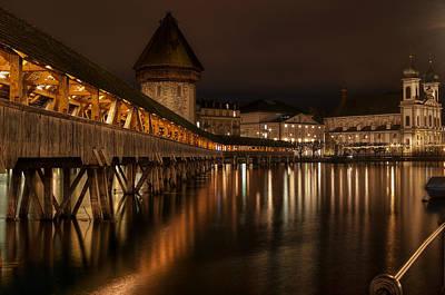 Chapel Bridge Lucerne Print by Caroline Pirskanen