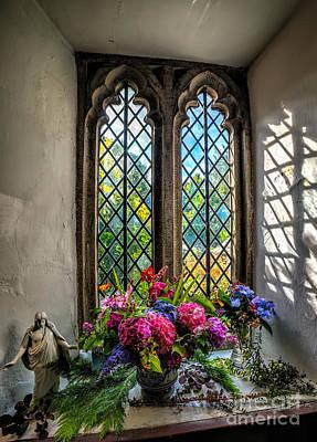Chapel Flowers Print by Adrian Evans