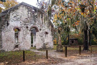 Chapel Of Ease Photograph - Chapel Of Ease Ruins And Mausoleum St. Helena Island South Car by Dawna  Moore Photography