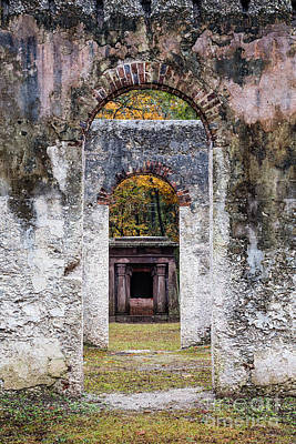Chapel Of Ease Photograph - Chapel Of Ease Ruins Doorway And Mausoleum St. Helena Island S by Dawna  Moore Photography
