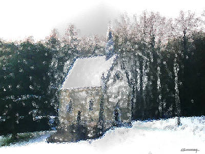 Chapel Under Snow Print by Christian Simonian