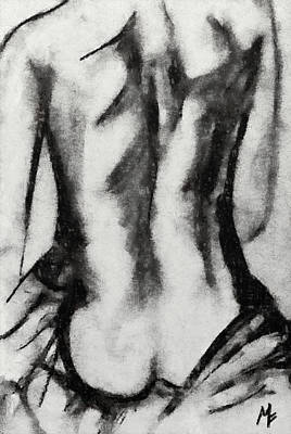 Nude Drawing - Charcoal Back by Dragica  Micki Fortuna