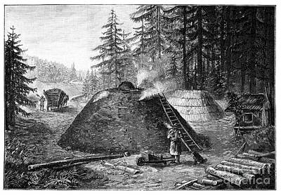 Charcoal Production, 19th Century Print by Spl