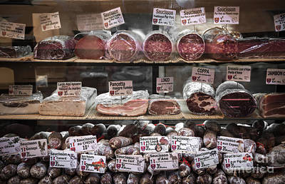 Charcuterie On Display In Butcher Shop In Old Nice Print by Elena Elisseeva