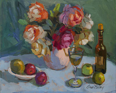 Chardonnay Wine Painting - Chardonnay And Roses by Diane McClary