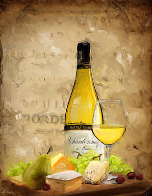 Wine Art Painting - Chardonnay Iv by Lourry Legarde