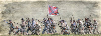Charge Of The Virginia Regiment At Gettysburg Print by Randy Steele