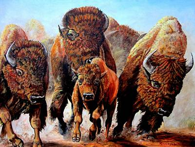 Bison Charge Painting - Charging Buffalo by Ruanna Sion Shadd a'Dann'l