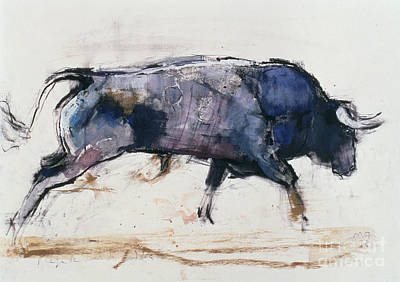 Bison Painting - Charging Bull by Mark Adlington