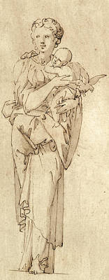 Virgin Mary Drawing - Charity Or The Virgin And Child by Geoffroy Dumonstier