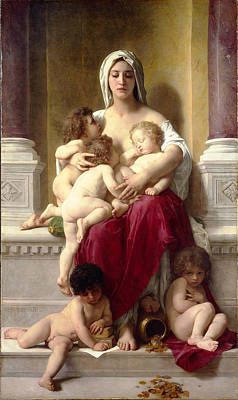 William-adolphe Bouguereau Painting - Charity by William-Adolphe Bouguereau