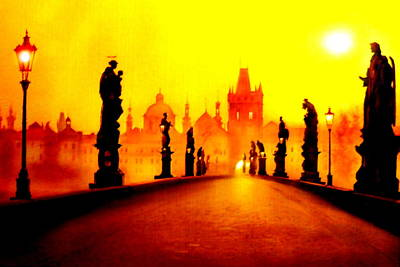 Charles Bridge In Prague Print by The Creative Minds Art and Photography