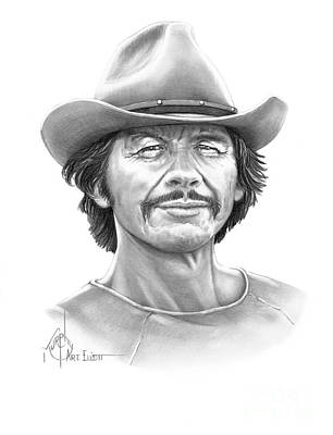 Famous People Drawing - Charles Bronson by Murphy Elliott